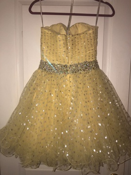 Sherri Hill Yellow Size 2 Corset Strapless Lace Cocktail Dress on Queenly