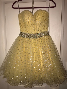 Queenly size 2 Sherri Hill Yellow Cocktail evening gown/formal dress