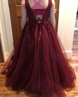 Tiffany Girls Red Size 10 Sequin Jewelled Ball gown on Queenly