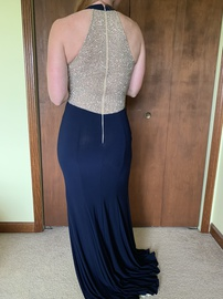 Xscape Blue Size 2 Plunge Prom Side slit Dress on Queenly