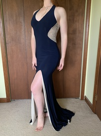 Queenly size 2 Xscape Blue Side slit evening gown/formal dress