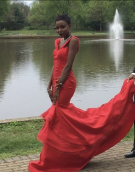 Queenly size 0  Red Train evening gown/formal dress