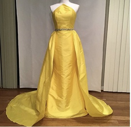 Fernando Wong Yellow Size 0 Halter Overskirt Train Dress on Queenly