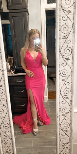 Tiffany Designs Pink Size 0 Jersey Train Side slit Dress on Queenly