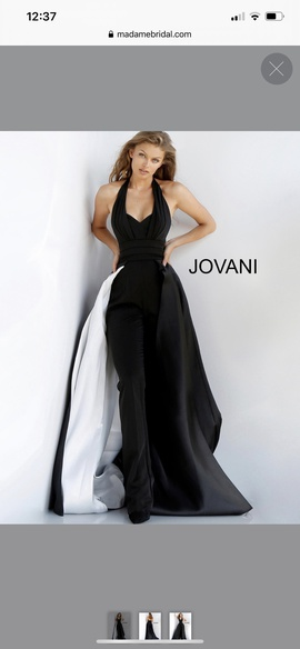 Queenly size 12 Jovani Black Romper/Jumpsuit evening gown/formal dress