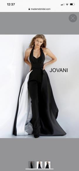 Jovani Black Size 12 Fun Fashion Overskirt Plus Size Romper/Jumpsuit Dress on Queenly