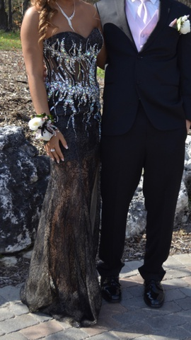 Jovani Black Size 0 Short Height Side Slit Train Dress on Queenly