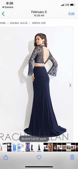 Rachel Allan Blue Size 0 Sheer Plunge Backless A-line Dress on Queenly
