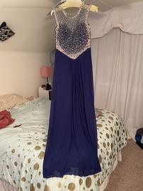 Jovani Blue Size 10 Side slit Dress on Queenly