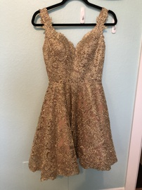 Queenly size 2 Sherri Hill Gold Cocktail evening gown/formal dress