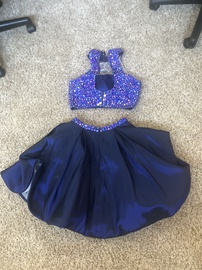 Sherri Hill Purple Size 4 Flare Halter Two Piece Cocktail Dress on Queenly