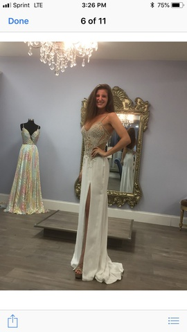 Sherri Hill White Size 2 Pageant Plunge Straight Dress on Queenly