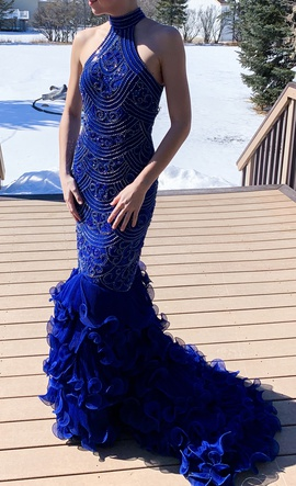 Queenly size 4 YUMIN- CUSTOM Blue Mermaid evening gown/formal dress