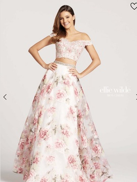 Style nan Ellie Wilde Multicolor Size 2 Light Pink Floral Fun Fashion A-line Dress on Queenly