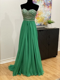Queenly size 4 Sherri Hill Green A-line evening gown/formal dress