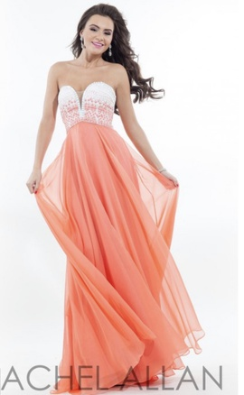 Queenly size 0 Rachel Allan Orange A-line evening gown/formal dress