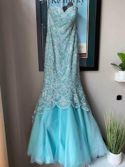 Sherri Hill Blue Size 2 Lace Sweetheart Mermaid Dress on Queenly