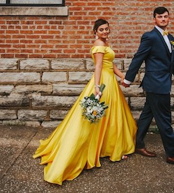 Queenly size 8  Yellow Train evening gown/formal dress