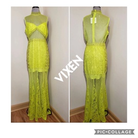Asos Green Size 12 Plus Size Print Lace Mermaid Dress on Queenly