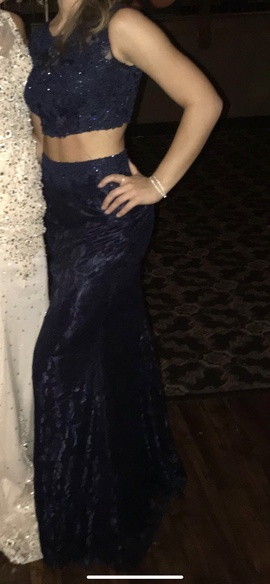 Mori Lee Blue Size 2 Backless Lace Straight Dress on Queenly