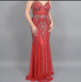 Queenly size 14 marina Red Straight evening gown/formal dress