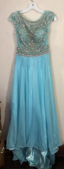 Jovani Blue Size 2 Train Straight Dress on Queenly