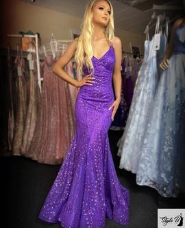 Ellie Wilde Purple Size 8 Corset Lace Mermaid Dress on Queenly