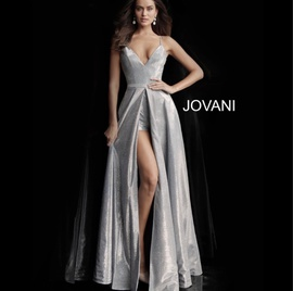 Jovani Silver Size 2 Side Slit Plunge Shiny A-line Dress on Queenly