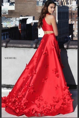 Sherri Hill Red Size 12 Two Piece Plus Size Train Dress on Queenly