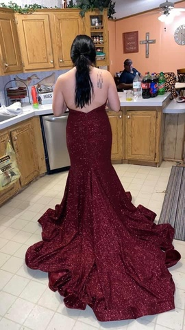 Jovani Red Size 16 Plus Size Backless Train Dress on Queenly