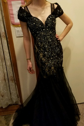 Queenly size 2 Panoply Black Mermaid evening gown/formal dress