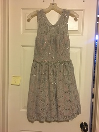 Queenly size 8 Jodi Kristopher Silver A-line evening gown/formal dress
