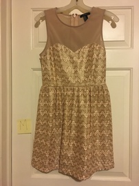 Queenly size 8 Forever21 Gold A-line evening gown/formal dress