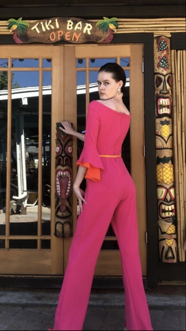 Stephanie McLean Pink Size 4 Jumpsuit Interview Romper/Jumpsuit Dress on Queenly