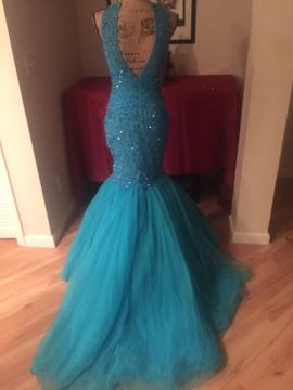 Sherri Hill Light Blue Size 4 Jewelled Mermaid Dress on Queenly