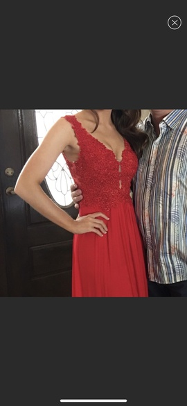 Sherri Hill Red Size 0 Plunge Backless Lace Ball gown on Queenly