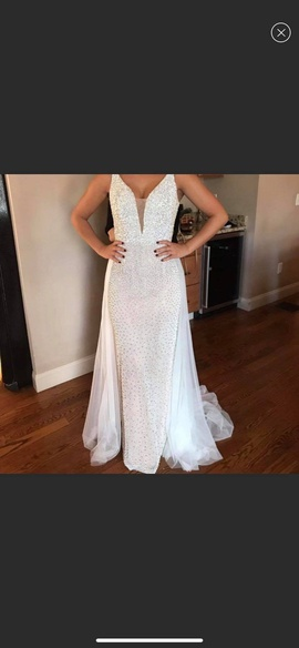 Sherri Hill White Size 4 Tulle Liquid Beading Straight Dress on Queenly