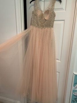 Jovani Gold Size 8 Pageant Straight Dress on Queenly