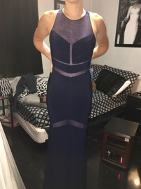 Clarisse Blue Size 4 Sheer Straight Dress on Queenly