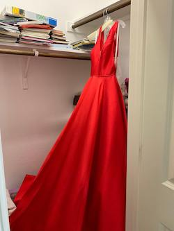 Sherri Hill Red Size 2 Plunge A-line Dress on Queenly