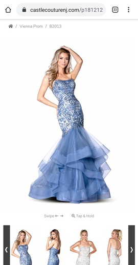 Vienna Blue Size 16 Prom Mermaid Dress on Queenly