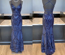 Mori Lee Blue Size 4 Sequin Jewelled Mermaid Dress on Queenly