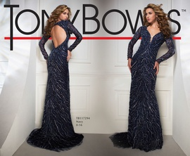 Tony Bowls Blue Size 4 Train Dress on Queenly