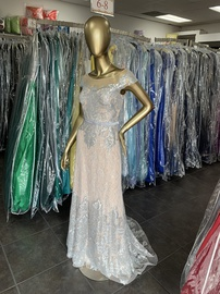 Queenly size 2 Terani Couture Silver Straight evening gown/formal dress