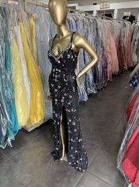 Primavera Black Size 4 Jewelled V Neck Fitted Side slit Dress on Queenly