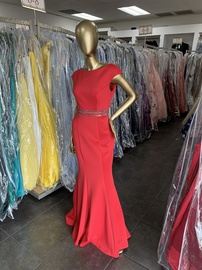 Terani Couture Red Size 4 Belt Backless Straight Dress on Queenly