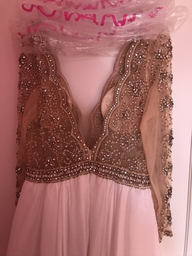 Jovani White Size 14 Nude Sheer Ball gown on Queenly