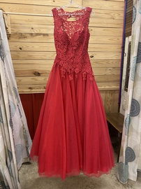 Madison James Red Size 10 Pageant Lace Ball gown on Queenly