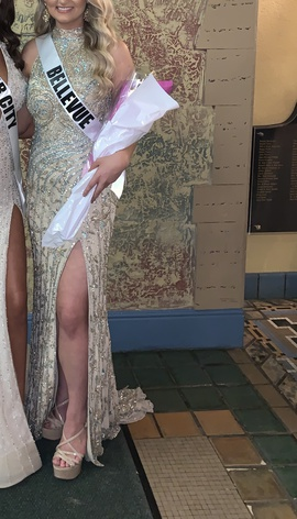 Sherri Hill Gold Size 2 Medium Height Side slit Dress on Queenly