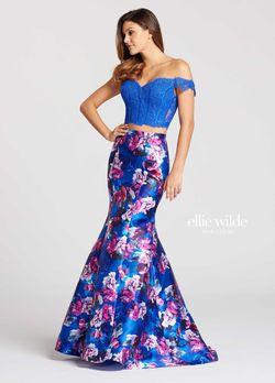 Ellie Wilde Blue Size 8 Purple Lace Mermaid Dress on Queenly